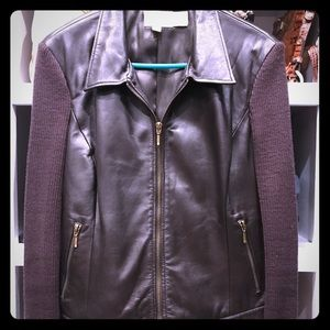 Chocolate brown leather jacket sweater sleeve